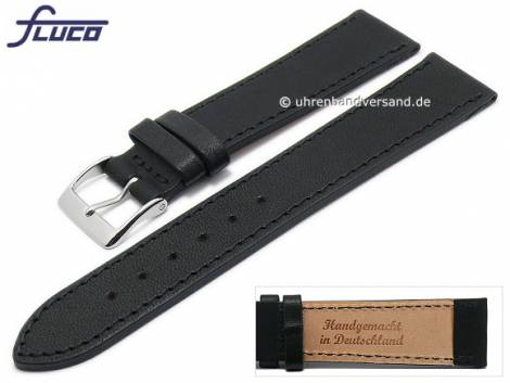 Watch strap -Essex- 20mm black Horween leather vegetable tanned by FLUCO (width of buckle 18 mm) - Bild vergrößern