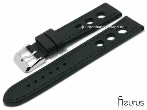 Watch strap 24mm black leather racing look smooth double stitching by FLEURUS (width of buckle 22 mm) - Bild vergrößern