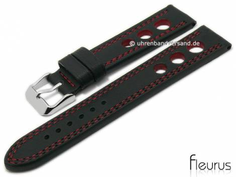 Watch strap 24mm black leather racing look smooth red double stitching by FLEURUS (width of buckle 22 mm) - Bild vergrößern
