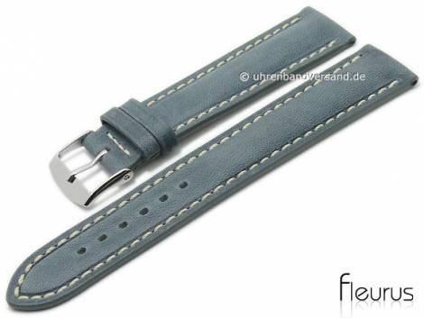 Watch strap 24mm grau leather vintage look smooth light stitching by FLEURUS (width of buckle 22 mm) - Bild vergrößern
