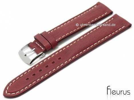 Watch strap 20mm red leather vintage look smooth light stitching by FLEURUS (width of buckle 18 mm) - Bild vergrößern