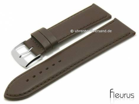 Watch strap -Natura Lisse- 26mm dark brown leather titanium tanned stitched by FLEURUS (width of buckle 24 mm) - Bild vergrößern