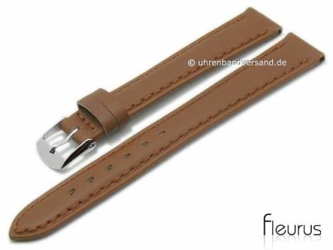 Watch strap -Natura Lisse- 12mm light brown leather titanium tanned stitched by FLEURUS (width of buckle 10 mm) - Bild vergrößern