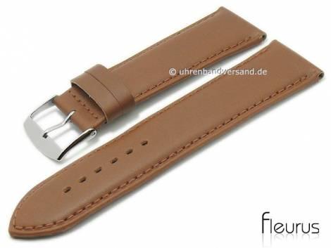 Watch strap -Natura Lisse- 28mm light brown leather titanium tanned stitched by FLEURUS (width of buckle 26 mm) - Bild vergrößern
