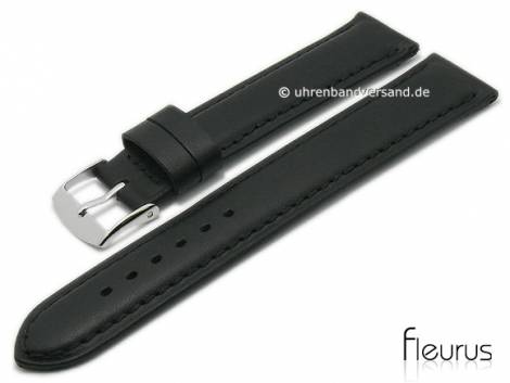 Watch strap -Natura Lisse- 20mm black leather titanium tanned stitched by FLEURUS (width of buckle 18 mm) - Bild vergrößern