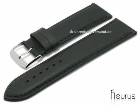 Watch strap -Natura Lisse- 30mm black leather titanium tanned stitched by FLEURUS (width of buckle 28 mm) - Bild vergrößern