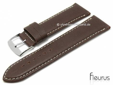 Watch strap -Natura Grainee- 28mm dark brown leather titanium tanned light stitching by FLEURUS (width of buckle 26 mm) - Bild vergrößern