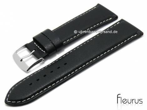 Watch strap -Natura Grainee- 26mm black leather titanium tanned light stitching by FLEURUS (width of buckle 24 mm) - Bild vergrößern