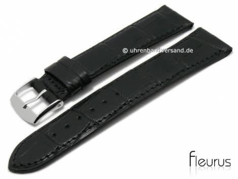 Watch strap XS 20mm black leather alligator grain stitched by FLEURUS (width of buckle 18 mm) - Bild vergrößern