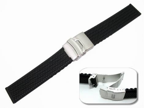 Watch band 20mm black silicone structured deployant clasp (width of buckle 20 mm) - Bild vergrößern