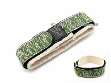 Hook and loop watch band 20mm -Green Bamboo HEMP- green and grey - Bild vergrößern