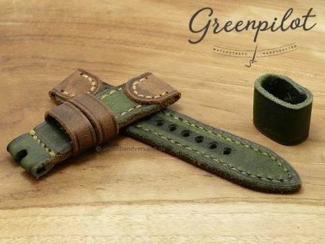 GREENPILOT watch strap hand made 24mm green/light brown leather vintage look made in Germany (width of buckle 24 mm) - Bild vergrößern