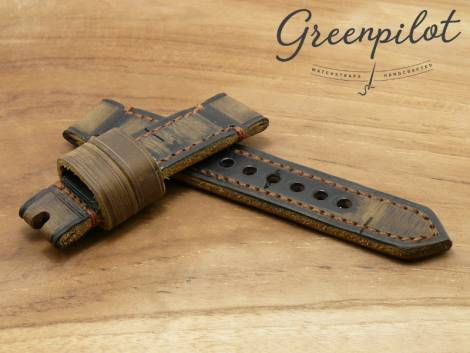 GREENPILOT watch strap hand made 24mm ocher/dark brown leather vintage look made in Germany (width of buckle 22 mm) - Bild vergrößern