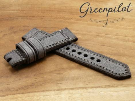 GREENPILOT watch strap hand made 22mm grey leather vintage look made in Germany (width of buckle 20 mm) - Bild vergrößern