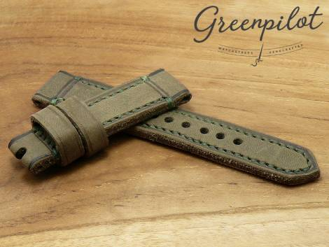 GREENPILOT watch strap hand made 22mm green leather vintage look made in Germany (width of buckle 20 mm) - Bild vergrößern