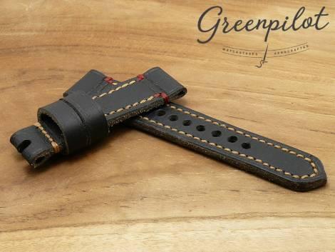 GREENPILOT watch strap hand made 24mm black genuine water buffalo vintage look made in Germany (width of buckle 22 mm) - Bild vergrößern
