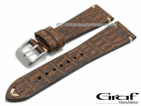 Watch Strap Antik 22mm Dark Brown Leather Alligator Grain Antique Look Heavy Taper