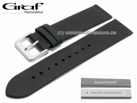 Watch strap XL -Kopenhagen- 24mm black leather special lug ends for screwed casings by GRAF (width of buckle 18 mm) - Bild vergrößern