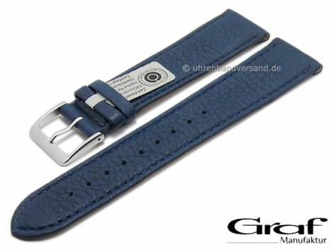 Watch strap -Divus- 20mm dark blue natural leather grained matt stitched by GRAF (width of buckle 18 mm) - Bild vergrößern
