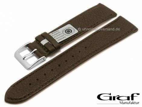 Watch strap -Divus- 22mm dark brown natural leather certified grained matt stitched by GRAF (width of buckle 18 mm) - Bild vergrößern