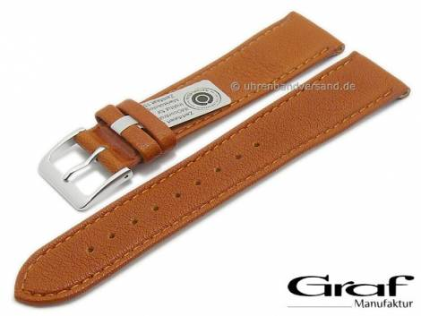 Watch strap -Divus- 18mm light brown natural leather certified grained matt stitched by GRAF (width of buckle 16 mm) - Bild vergrößern