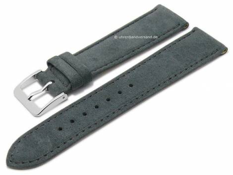 Watch strap XS -Luna- 18mm anthracite natural leather certified suede like matt stitched by GRAF (width of buckle 16 mm) - Bild vergrößern
