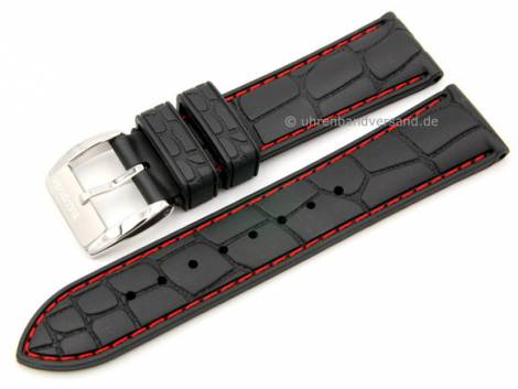 Watch strap 22mm black rubber alligator grain red stitching by ZULUDIVER (width of buckle 20 mm) - Bild vergrößern