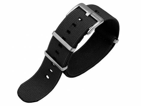 Watch strap 22mm black nylon (textile) E-NATO elastic textile with 3 loops one piece strap - Bild vergrößern