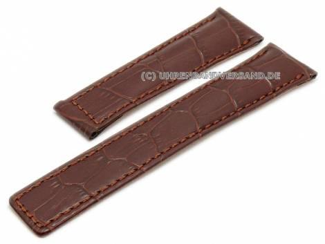 Watch strap 22mm red brown leather alligator grain stitched for TAG Heuer Monaco (width of clasp 18 mm) - Bild vergrößern