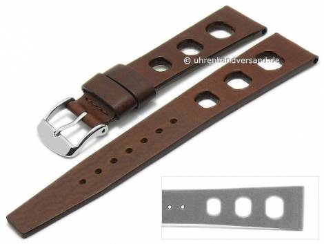 Watch strap 20mm dark brown leather vegetabile tanned racing look without stitching by GECKOTA (width of buckle 16 mm) - Bild vergrößern