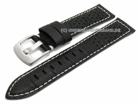 Watch strap 20mm black leather alligator grain racing look light stitching (width of buckle 18 mm) - Bild vergrößern
