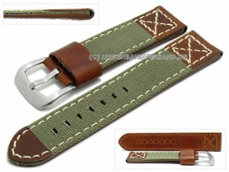 Watch strap 22mm olive green/brown textile/leather military look light stitching by ZULUDIVER (width of buckle 22 mm) - Bild vergrößern