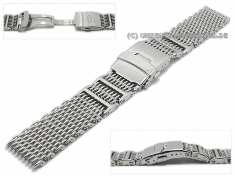 Watch strap 20mm mesh robust structure polished with security clasp by GECKOTA - Bild vergrößern