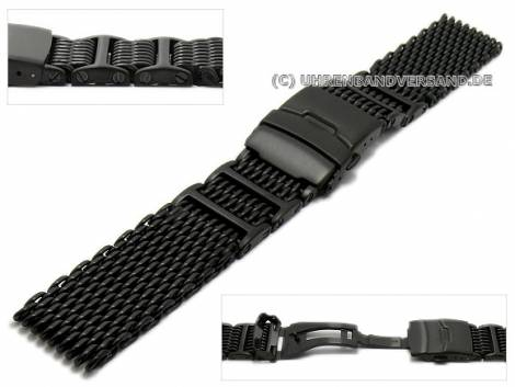Watch strap 22mm black mesh robust structure matt with security clasp by GECKOTA - Bild vergrößern