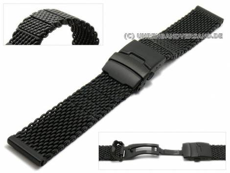 Watch strap 22mm black mesh robust structure with black security clasp - Bild vergrößern