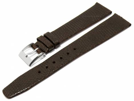 Watch strap 18mm dark brown genuine nutria leather grained without stitching (width of buckle 14 mm) - Bild vergrößern