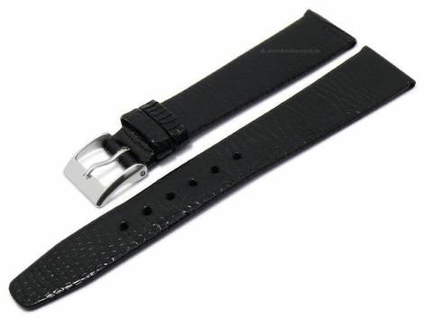 Watch strap 18mm black genuine nutria leather grained without stitching (width of buckle 14 mm) - Bild vergrößern