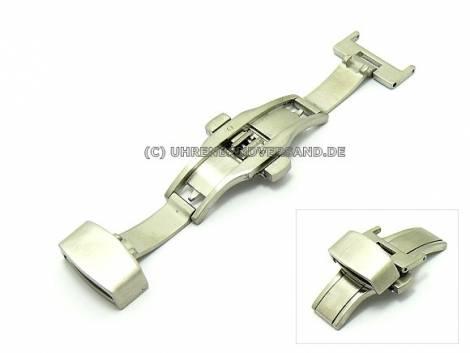 Butterfly clasp (HeBFS-14) 14mm stainless steel brushed finish push button release - Bild vergrößern