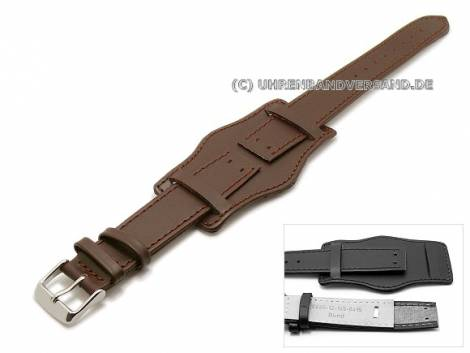 Watch band 20mm dark brown aviator style with leather backing pad (width of buckle 18 mm) - Bild vergrößern