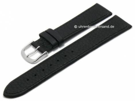 Basic watch strap 24mm black leather grained stitched (width of buckle 22 mm) - Bild vergrößern
