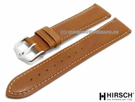 Watch band -Camelgrain- 20mm open ends honey brown grained surface by HIRSCH (width of buckle 18 mm) - Bild vergrößern