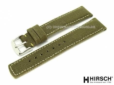 Watch band -Canvas- 20mm olive textile ivory stitching by HIRSCH - Bild vergrößern
