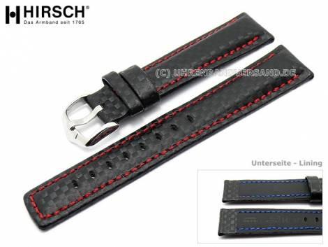 Watch band -Carbon- 20mm black red stitching by HIRSCH (width of buckle 18 mm) - Bild vergrößern