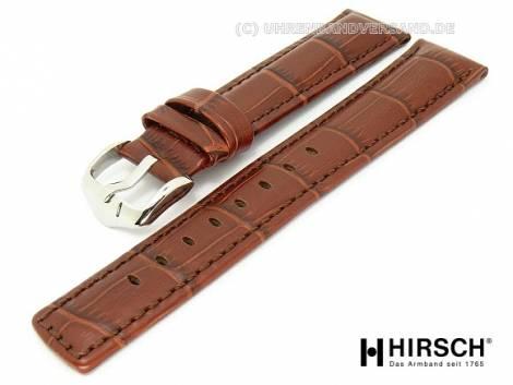Watch band -Grand Duke- 22mm brown alligator grain stitched by HIRSCH (width of buckle 20 mm) - Bild vergrößern