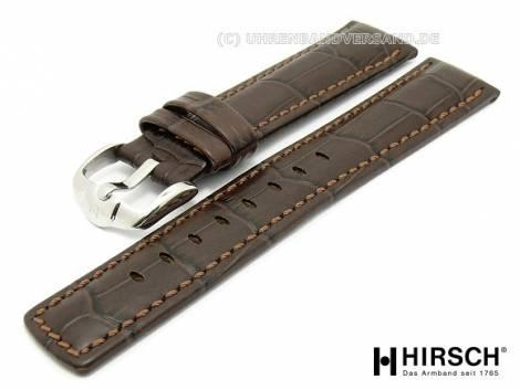 Watch band -Grand Duke- 22mm dark brown alligator grain light brown stitching by HIRSCH (width of buckle 20 mm) - Bild vergrößern