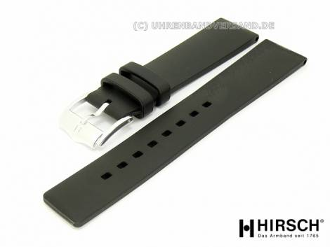 Watch band XL -Pure- 20mm black caoutchouc classic design by HIRSCH (width of buckle 18 mm) - Bild vergrößern