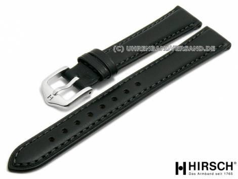 Watch strap -Kent- 14mm black leather smooth grey stitching by HIRSCH (width of buckle 12 mm) - Bild vergrößern