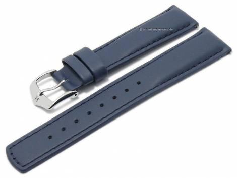 Watch strap (040-02) Runner 21mm dark blue leather smooth easy click spring bars by HIRSCH (width of buckle 20 mm) - Bild vergrößern