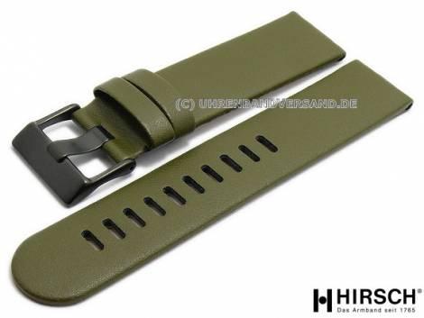 Watch strap -S-LG1- 22mm olive green leather grained matt by HIRSCH (width of buckle 22 mm) - Bild vergrößern