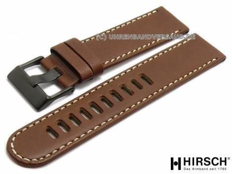 Watch strap -S-LG2- 22mm brown leather smooth light stitching by HIRSCH (width of buckle 22 mm) - Bild vergrößern